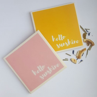 Hello Sunshine - Cheerful Handmade Ceramic Coaster
