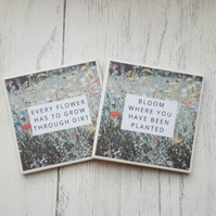 Pair of handmade ceramic coasters - Every flower Bloom