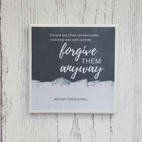 Handmade Ceramic Coaster - Forgive Anyway