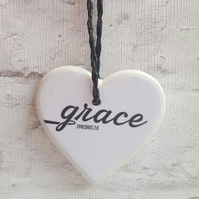 Handmade Ceramic Hanging Heart - Grace