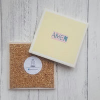 AMEN - Handmade ceramic coaster