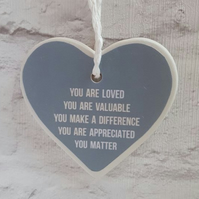 Handmade ceramic heart hanging decoration - You are Loved