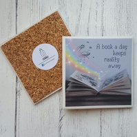 Handmade Ceramic Coaster - Book A Day Quote