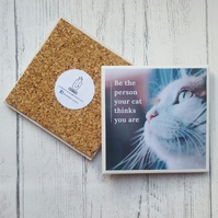 Handmade Ceramic Coaster - Cat Lover Quote