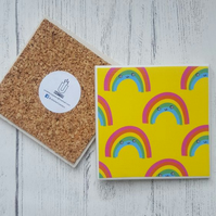 Handmade Ceramic Coaster - Happy Rainbow