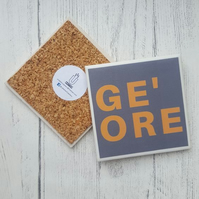 Handmade Ceramic Coaster - Yorkshire Saying - Ge' ore