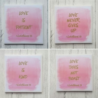 Set of 4 Handmade Ceramic Coasters - Love is...bible verse - 1 Corinthians 13