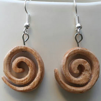 Small spiral earrings made from Beechwood