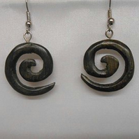 Small spiral earring made from genuine bog oak