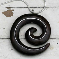 Wooden spiral pendant made from reclaimed Rosewood