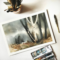 Original watercolour of stormy winter forest with birch tree