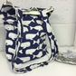Navy Blue and Cream Hand Made tote bag whale fabric fully lined with pocket