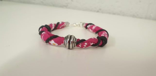 'Tribal Vibes' hand made fabric bracelet. Pink, White and Black