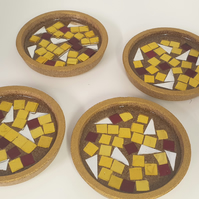 set of 4 Red Gold and Silver Mosaic Coasters, cork and resin