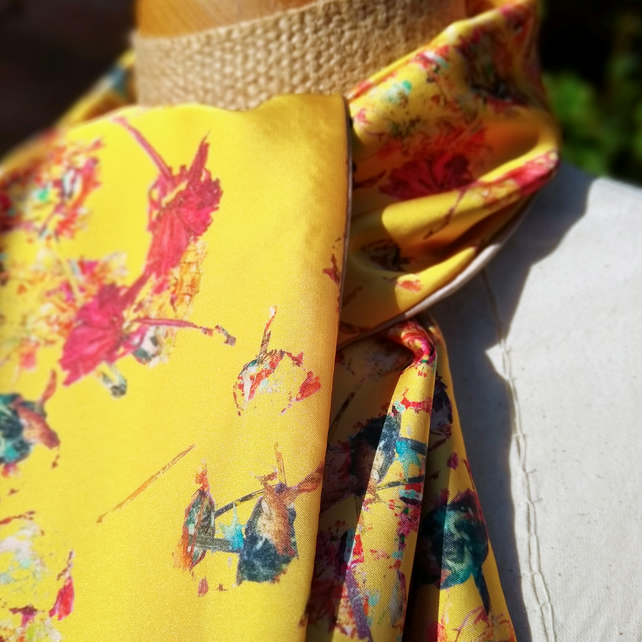yellow floral satin scarf