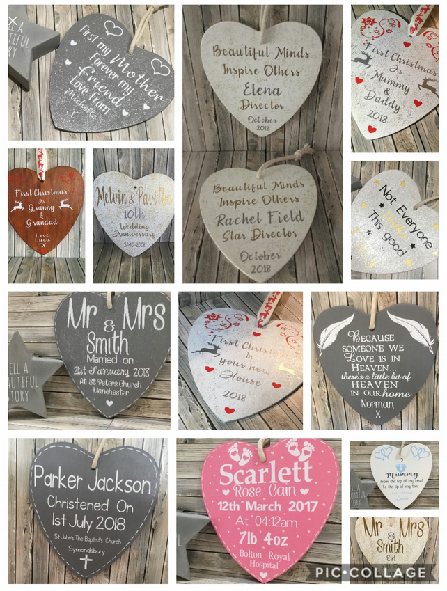 Personalised Wooden Heart Plaque Christening New Baby Gift
