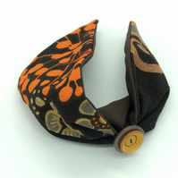 Customisable Vintage Fabric Headband With Vintage Button, Retro Hair Wrap Style