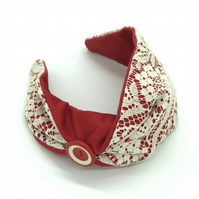 Customisable Vintage Lace Headband With Vintage Button, Retro Hair Wrap Style