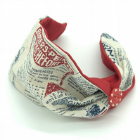 Customisable Headband with Vintage Button, French newsprint, retro hair wrap