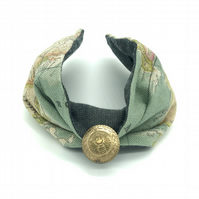 Customisable Fabric Headband, Vintage Button, World Map, Retro, Hair Wrap Style