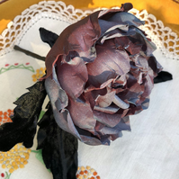 100% Silk Rose, Hair Clip Brooch or Corsage, Pinup or Gothic style