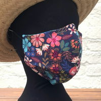 WINTER SALE! Adult's 3 LAYER Face Cover, reversible, floral print
