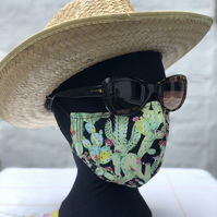 WINTER  SALE! Adult's 3 LAYER Face Cover, reversible cactus print