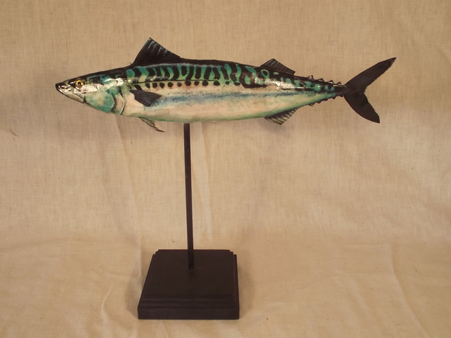 Cornish Mackerel Sea Fish Sculpture in Papier-mâché