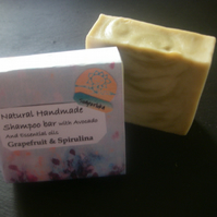 Shea butter shampoo bar with Grapefruit & Spirulina