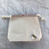 Embroidered Goldfinch Craft Bag