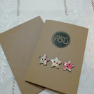Thank you card with wooden flowers, blank inside.