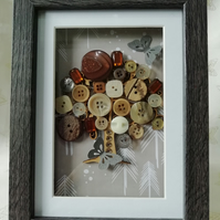 The Autumn Tree, walnut effect deep box frame with wooden decorated tree ,