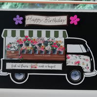 Happy birthday card with flower truck , flower card for her, funny card for her.