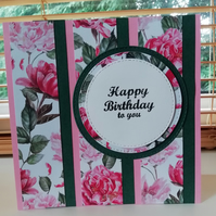 Beautiful pink and red English rose birthday card, floral birthday card for her.