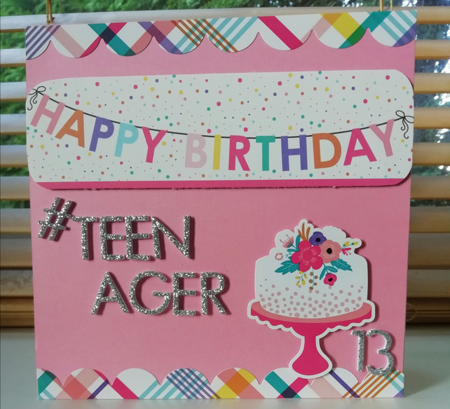 Pink Happy Birthday banner , teenager, age 13 , handmade card.