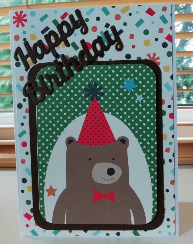 Bright Birthday card with party teddy Bear, young child's birthday card.