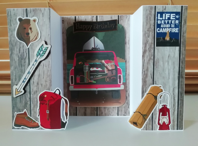 The great outdoors , camping around the camp fire, handmade birthday card.
