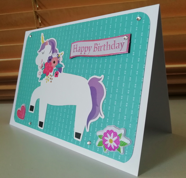 Floral unicorn handmade birthday card.
