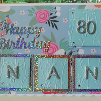 Happy 80th birthday Nan card, floral handmade card.