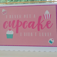 Pink cupcake birthday card, for her