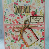 Handmade mother's day card, rustic card for mother's day.