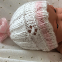 An Original Pretty Pram Knits Design,  Baby Girl Hand Knitted Hat