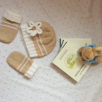 Baby Hand Knitted Hat and Mittens Pram Set