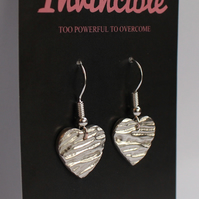 Recycled Fine Silver heart stylish textured earrings with sterling silver wires