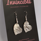 Fine recycled silver textured heart dangle earrings