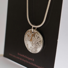 Fine Silver recycled floral medallion pendant necklace - Handmade