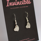 Recycled Fine Silver brushed heart dangle earrings - Handmade Jewellery
