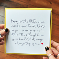 Hope Quote Card - Positive Typography - Inspirational Quote Card - Friend Card