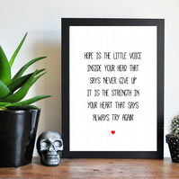 Hope Positive Inspirational Quote - Never Give Up Print - Typography Art Print