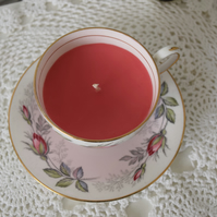 rose scented tea cup candle
